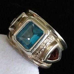 VTG Sterl.Silver Blue Topaz Red Tourmaline Ring